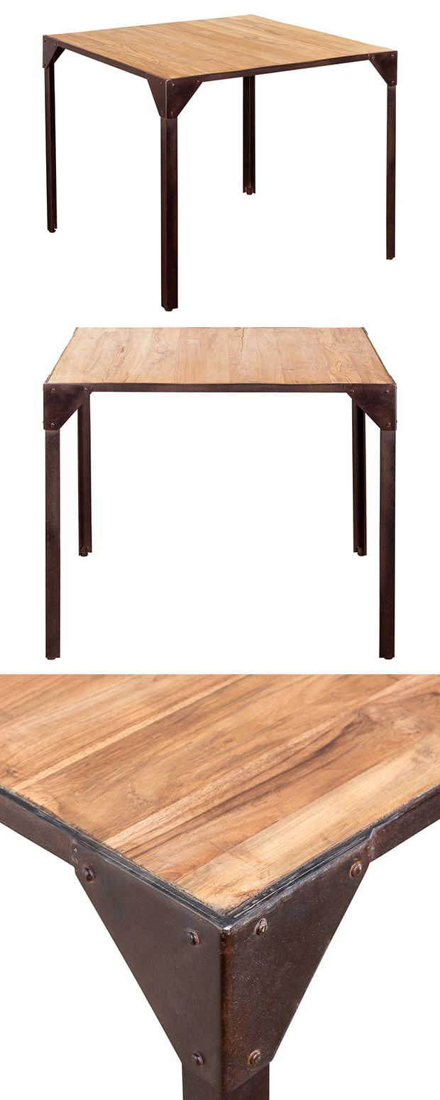Enjoy your favorite homemade dishes while gathered around this handsome Dolan Kitchen Table. Its rustic square teak wood surface is supported by industrial-style browned iron framework, making this gor...  Find the Dolan Kitchen Table, as seen in the When Industrial Took Flight Collection at http://dotandbo.com/collections/when-industrial-took-flight?utm_source=pinterest&utm_medium=organic&db_sku=120538