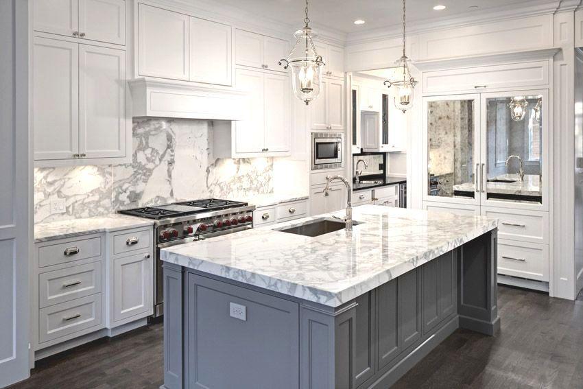 Marble Kitchen Island Modern In 2020 White Marble Kitchen White Kitchen Design Modern Marble Kitchen