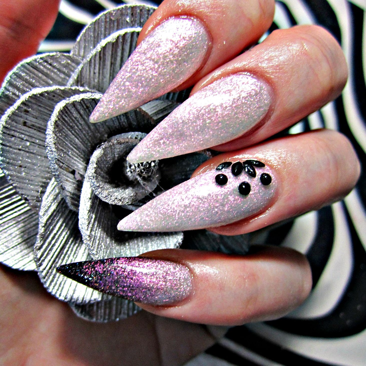 Pink and black stiletto acrylic nails | Nails | Pinterest