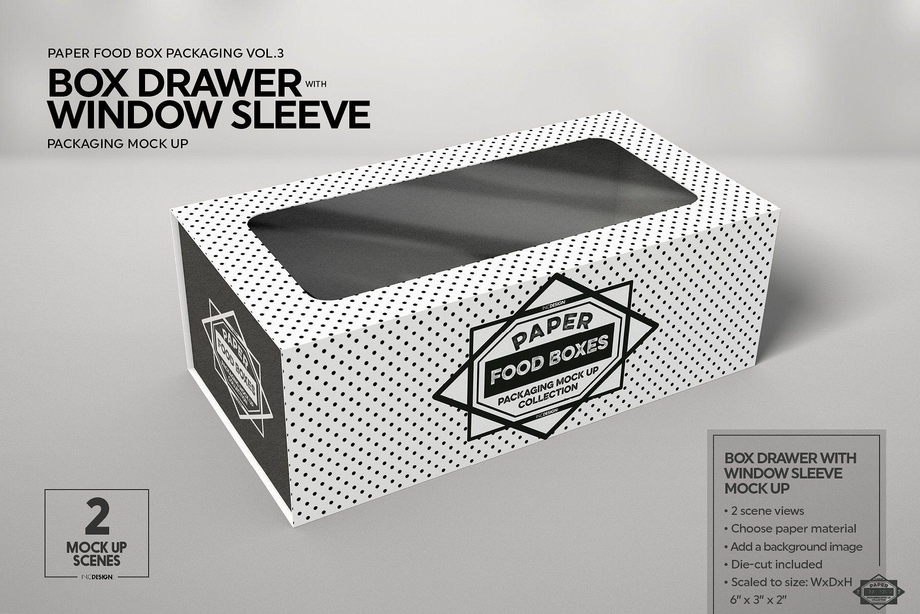 Download Box Window Sleeve Packaging Mockup Food Box Packaging Packaging Mockup Free Packaging Mockup