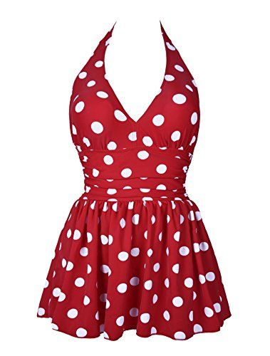Ebuddy Deep V Neck Vintage Women Polka Dots One Piece Bikini Swimwear Swimsuit,Red Dots-Tag 14 ebuddy http://www.amazon.com/dp/B01BBE6Z3O/ref=cm_sw_r_pi_dp_3ZX3wb1MHWFQD