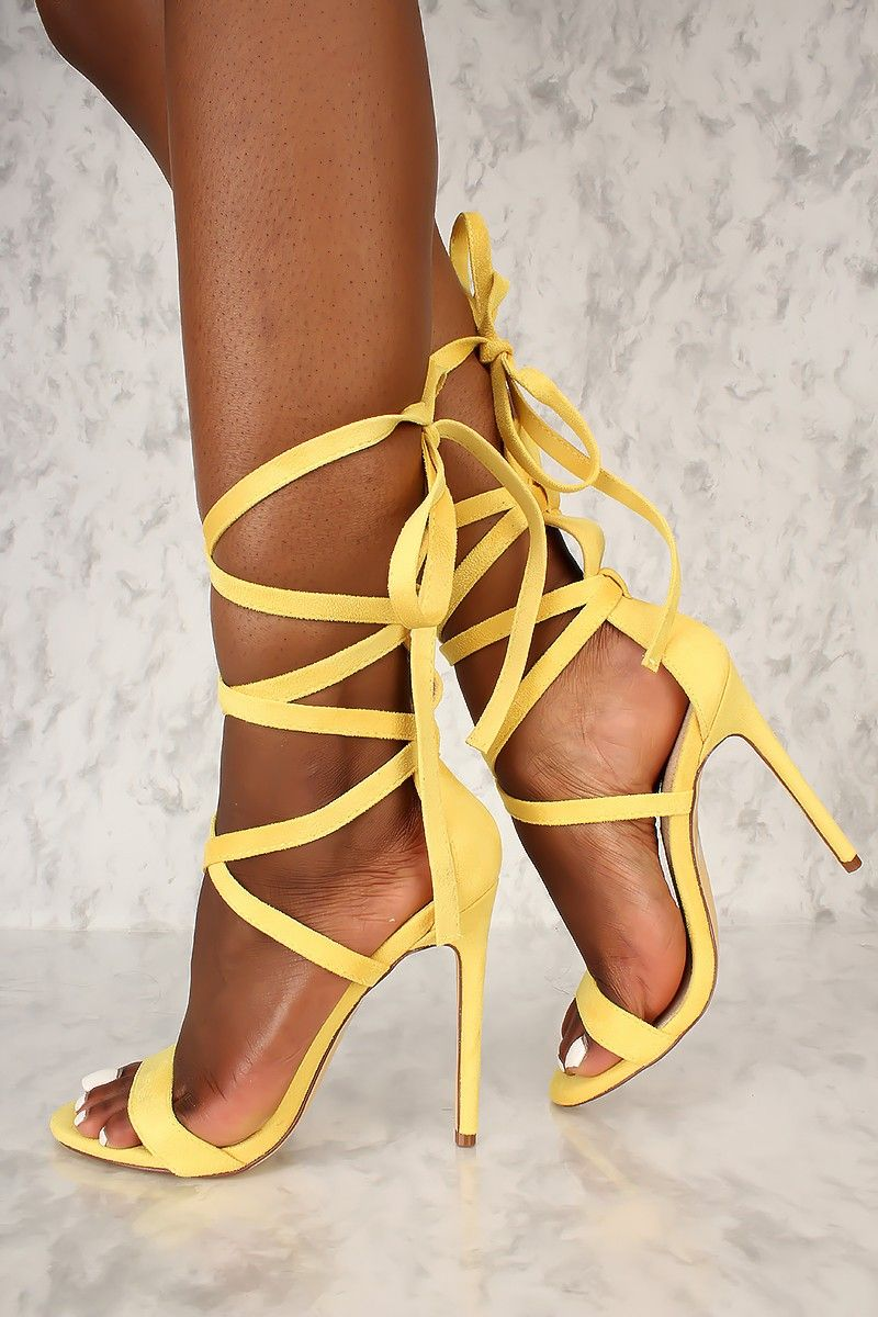 c46cde3fd5 Sexy Yellow Strappy Lace Tie Open Toe Single Sole High Heels Faux Suede
