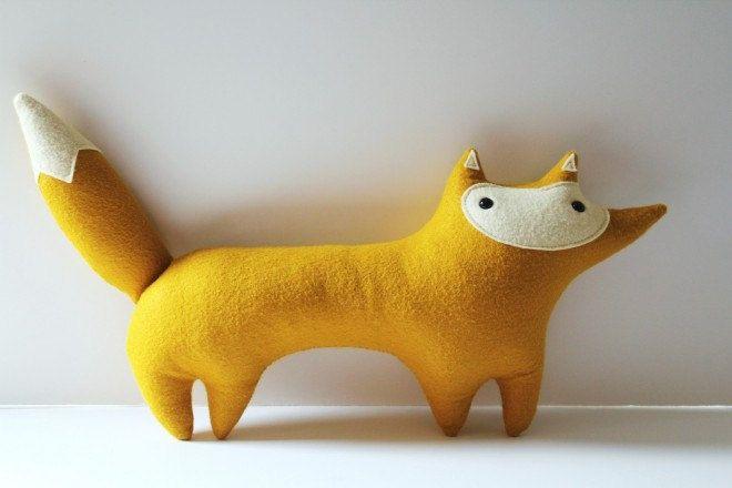 handmade plush mustard fox, Stewart Sunshine. $36.00, via Etsy.