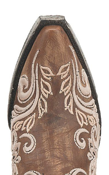 72156d1c8a4 by Old Gringo Women's Brown with White Embroidery Western Snip Toe ...