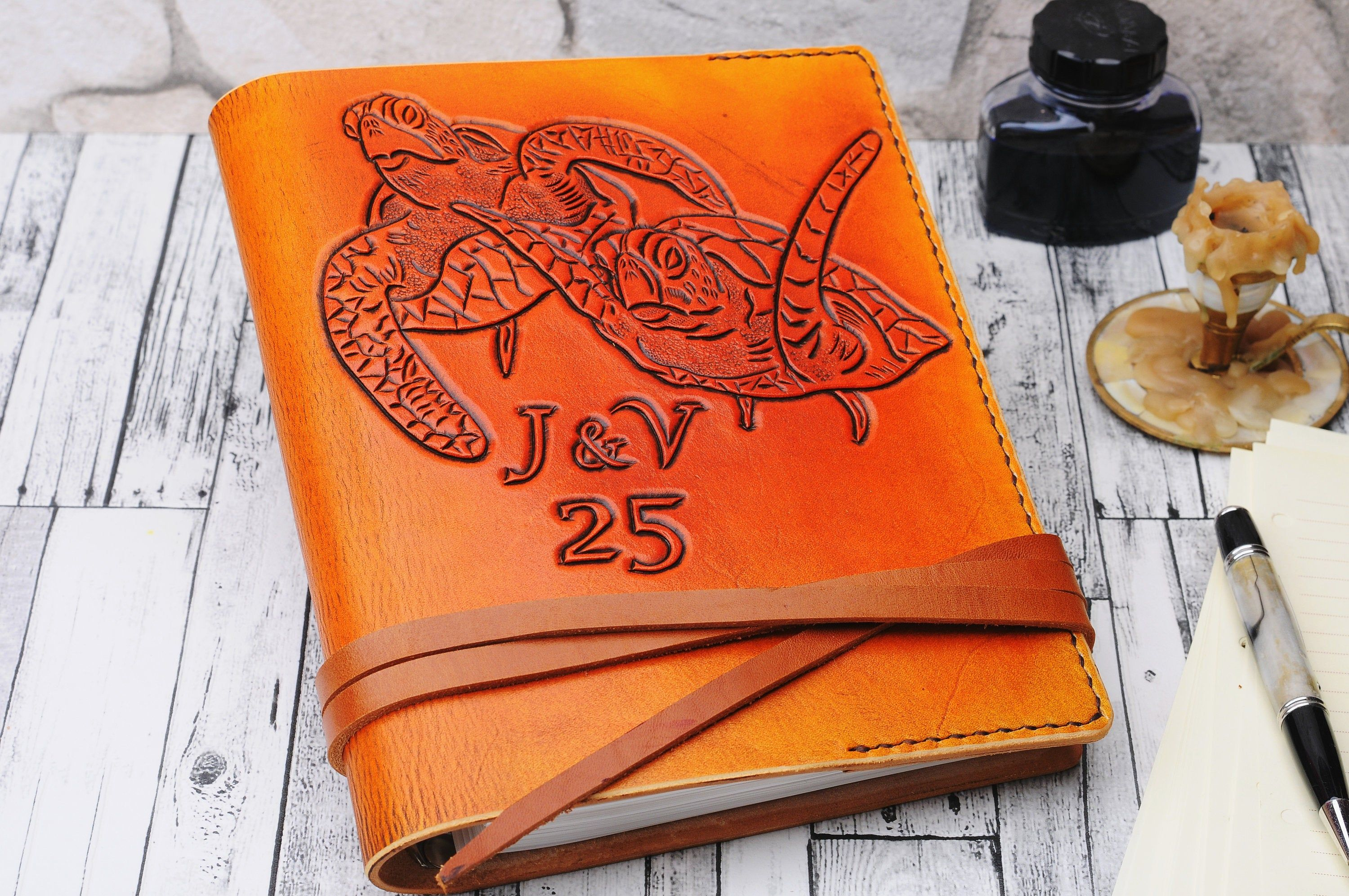 Gift Turtle Leather Journal 7x9 inches Personalized