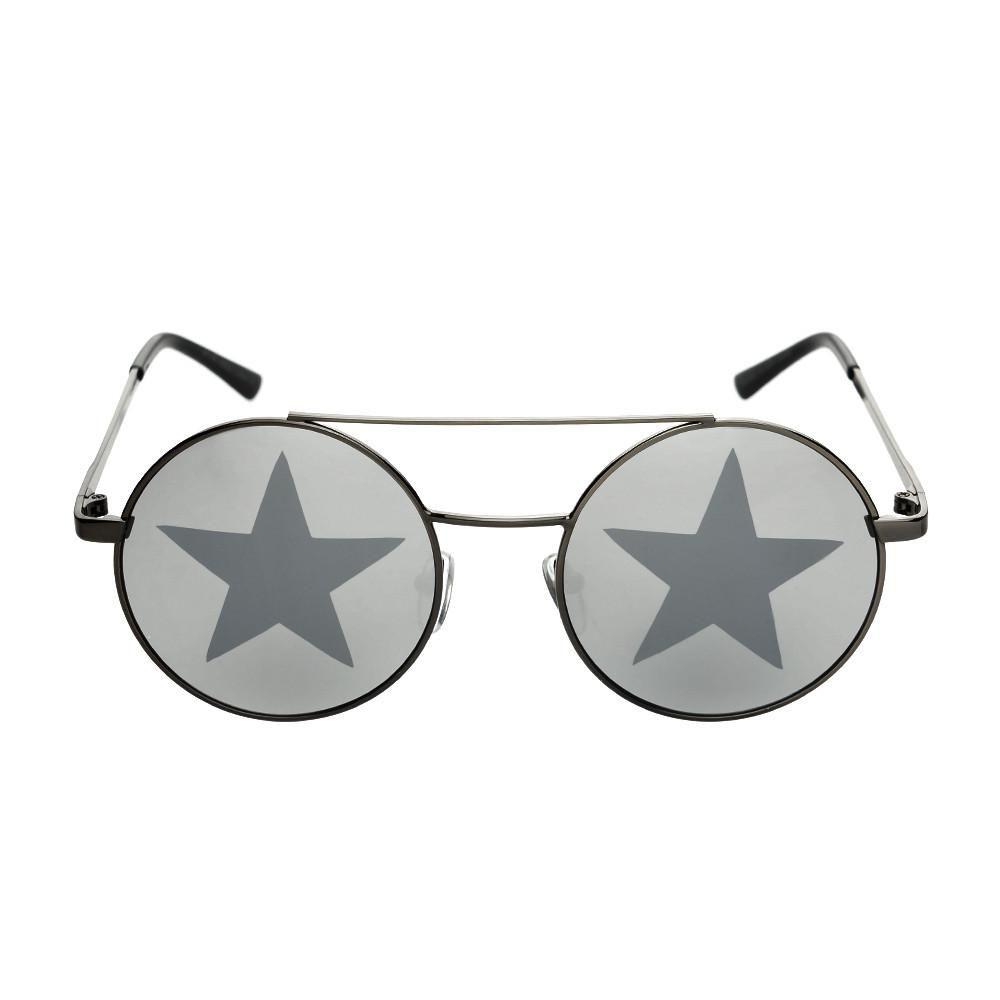 54ce27a468d Star Mirror Lens Metal Top Bar Unisex Round Sunglasses R3050 ...