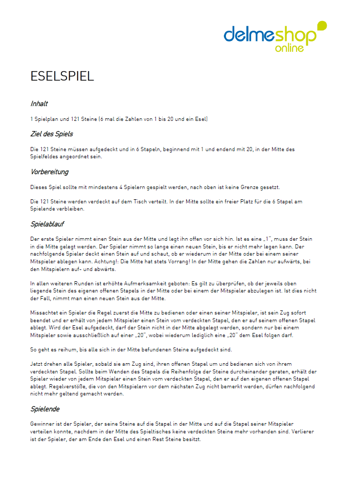 Eselspiel Holz Anleitung