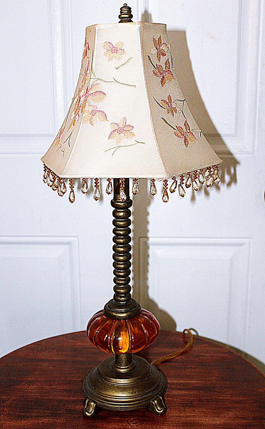 Vintage glass base accent table lamp beautiful embroidered vintage glass base accent table lamp beautiful embroidered beaded lamp shade spiral shaft geotapseo Images