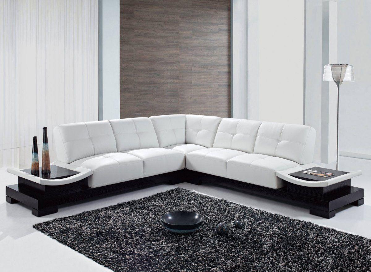 elegant modern style sofas image white living room black sofa | Contemporary Black and White Sectional L Shaped Sofa ...