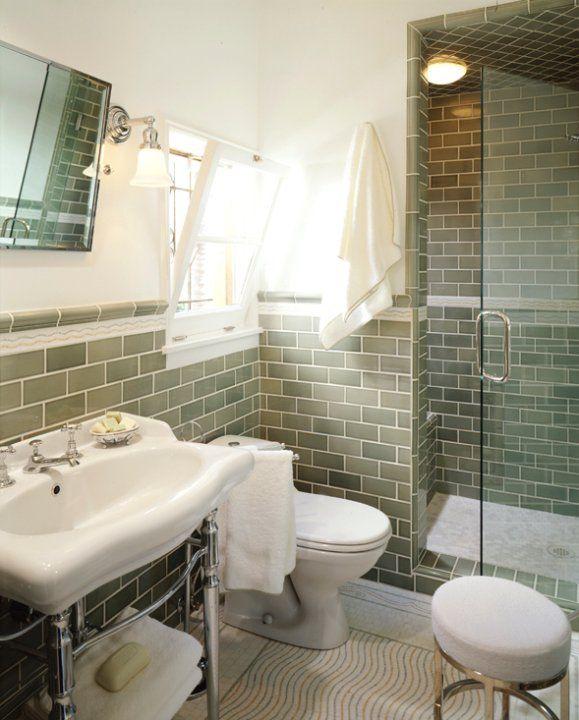 Mediterranean Bathroom With Ivory Walls Green Bathroom Green Tile Bathroom Bathrooms Remodel