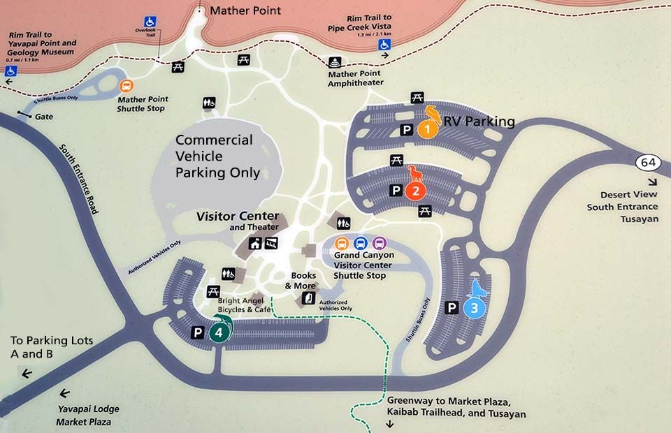 Map Showing Visitor Center With Parking Lots 1 4 And Shuttle