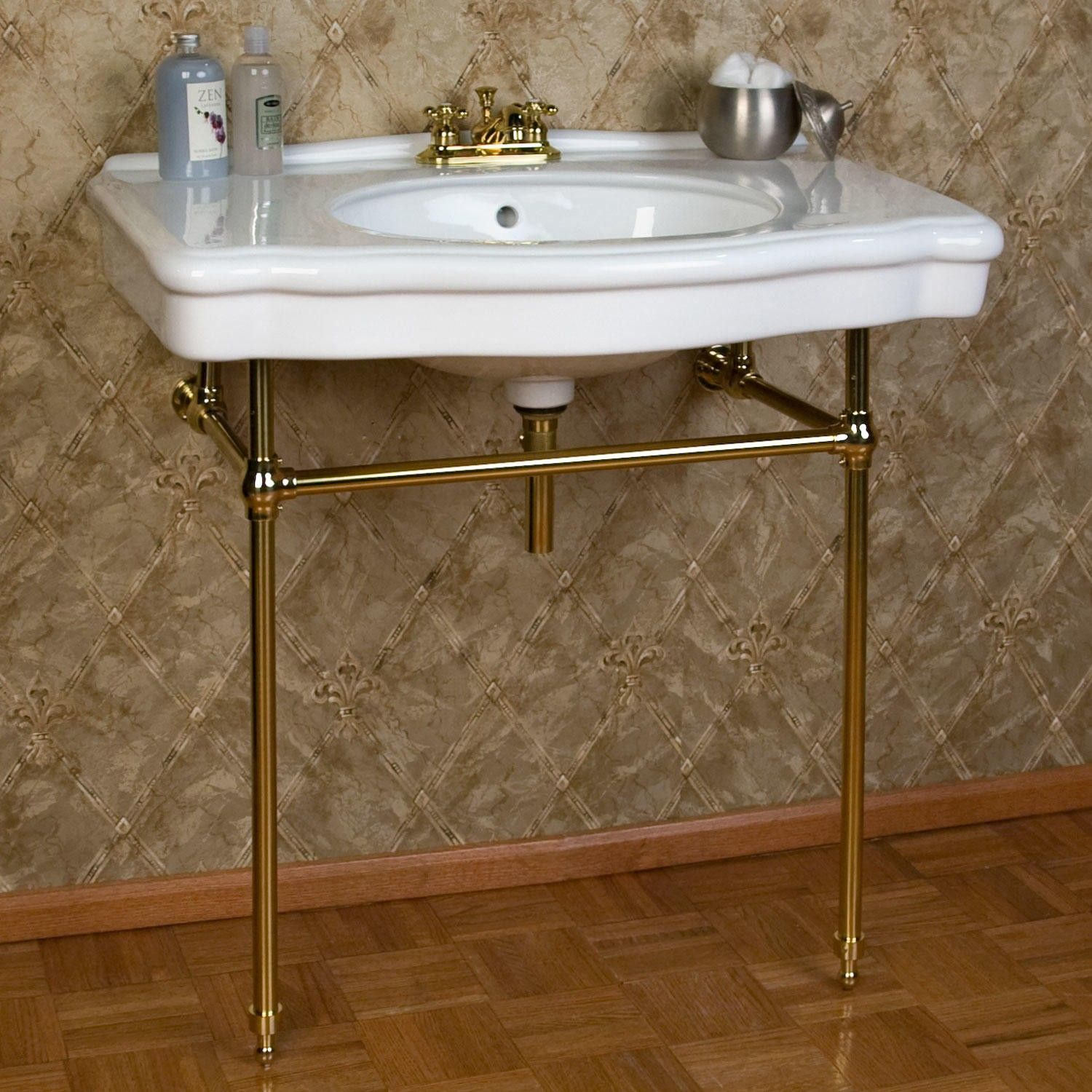 Console sink with chrome legs - Pennington Console Sink With Brass Stand Signaturehardware Com Powder Room Half Bath