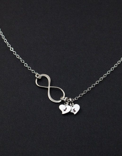WANT! Infinity Necklace. Heart Silver Necklace. Personalized Jewelry. His and Her initials, friendship, family gift,Couple Infinity Love. $31.50, via Etsy. Christmas idea? :)