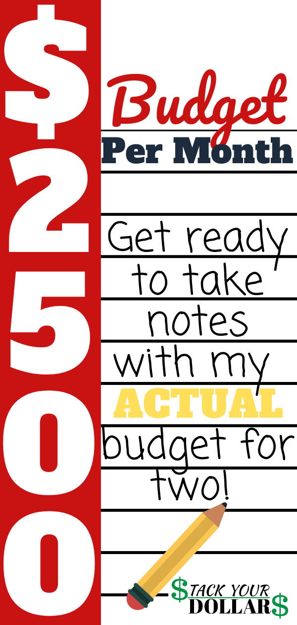 If you need ideas how to budget for two people, I've got you covered! I share how I budget $2500 per month for two people in my own family, with my actual family budget! You will want to take notes, especially if you are new to budgeting and need tips on budgeting for beginners. My budgeting tips are designed to save you money and help you stick to your budget once you've decided how much money to spend in each budget category. #budget #budgetingtips #howtobudget #stackyourdollars #finances