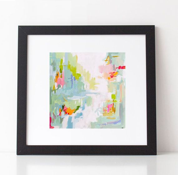 Modern Art Print , Abstract Print, 5x5 to 24x24, pink, lime, aqua ...