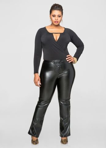 Black faux leather leggings plus size