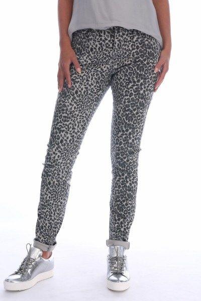 Geisha Broek Dierenprint 61517 Animalprint Leopard Print Pants Grey Black And White Luipaardprint Broek Bedrukte Broek Broeken