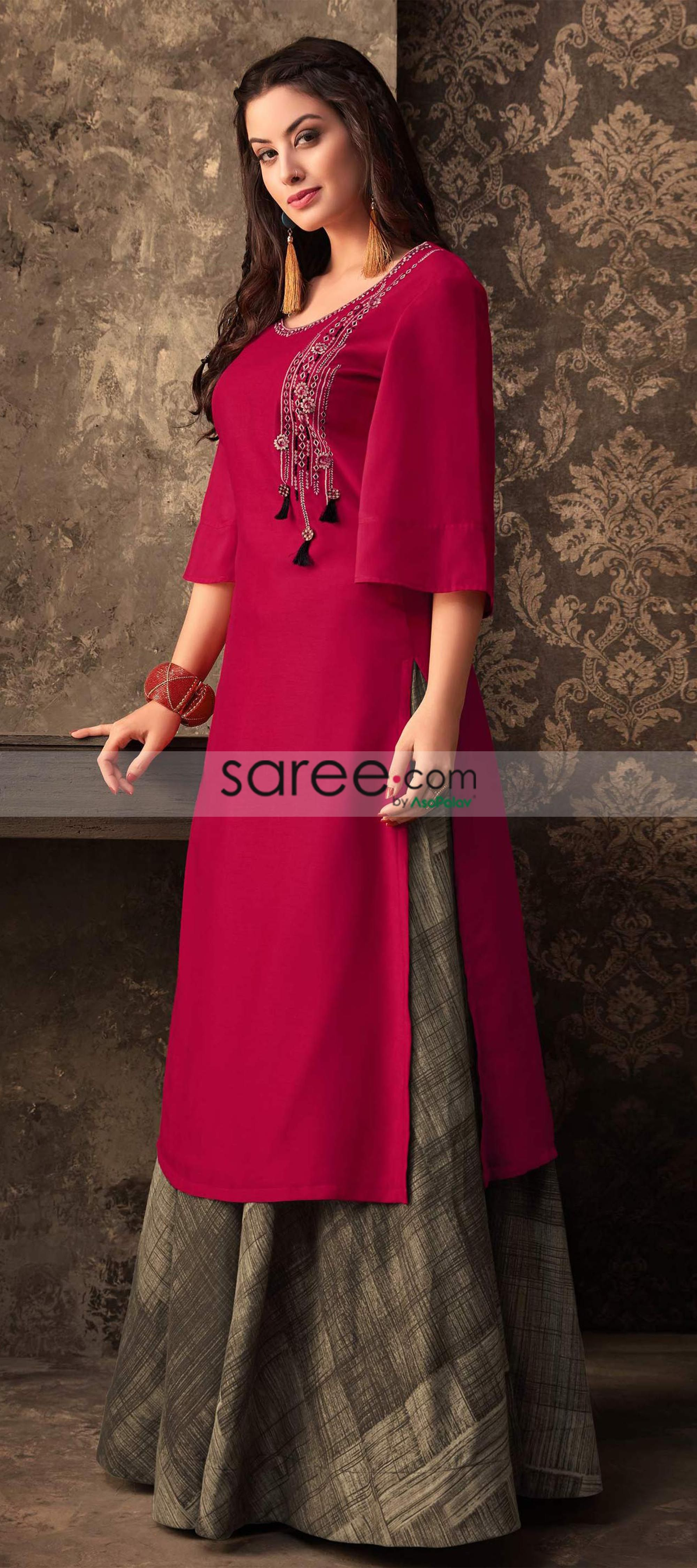 a850fd514b445 Rani Pink Muslin Cotton Kurti With Printed Skirt Palazzo Dress