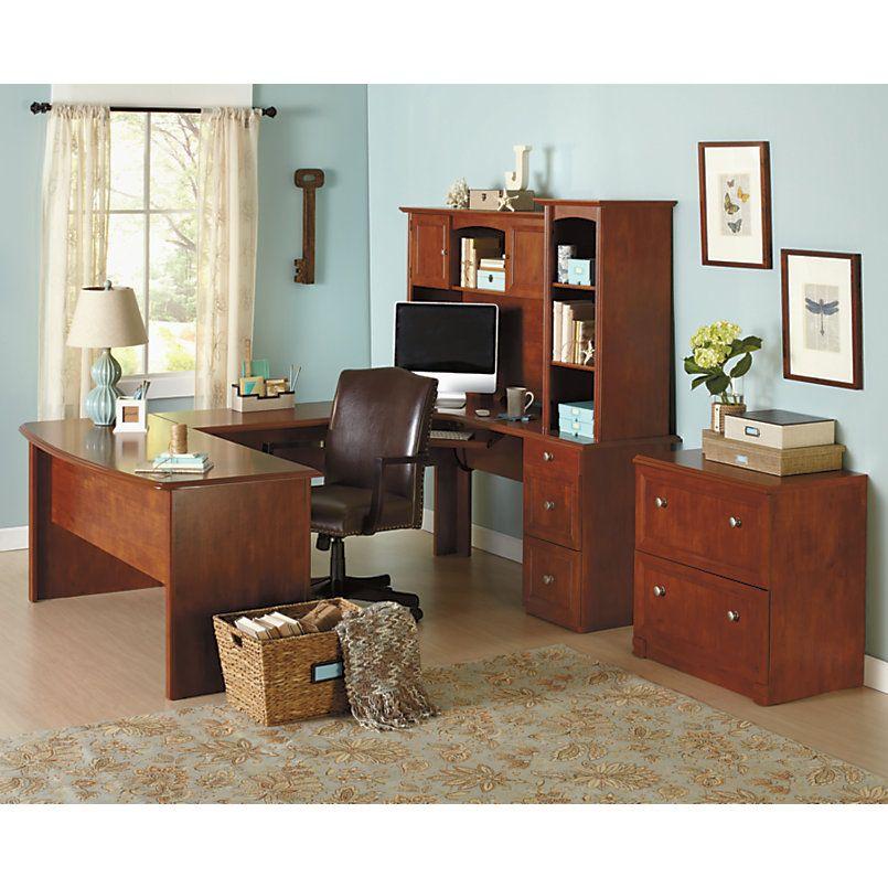u shaped desk office depot. Realspace Broadstreet Contoured U Shaped Desk 30 H X 65 W 28 D With 92 L Connecting BridgeShell Maple By Office Depot T
