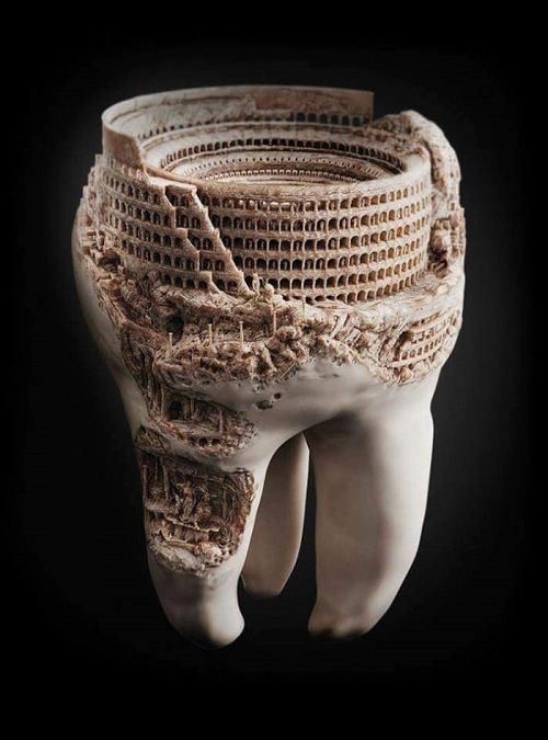 The Colosseum carved into a real tooth. (found on Facebook)