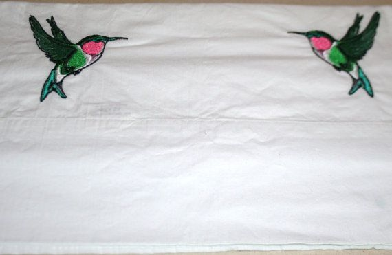 Embroidered Humming Bird Pillow Case by HabereksEmbroidery on Etsy, $6.00