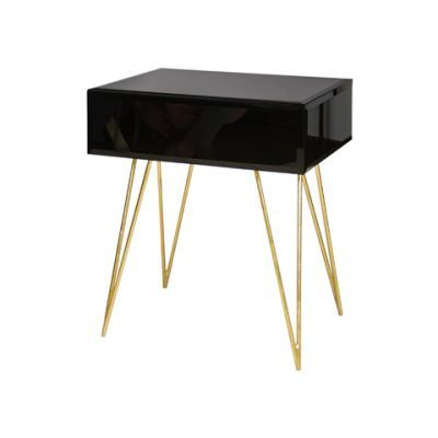 Debra Nightstand Black Black Glass Side Table Black Glass Gold Hair Pin
