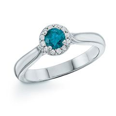 0.33 CT. T.W. Enhanced Blue and White Diamond Frame Ring in 10K White Gold  - Peoples Jewellers