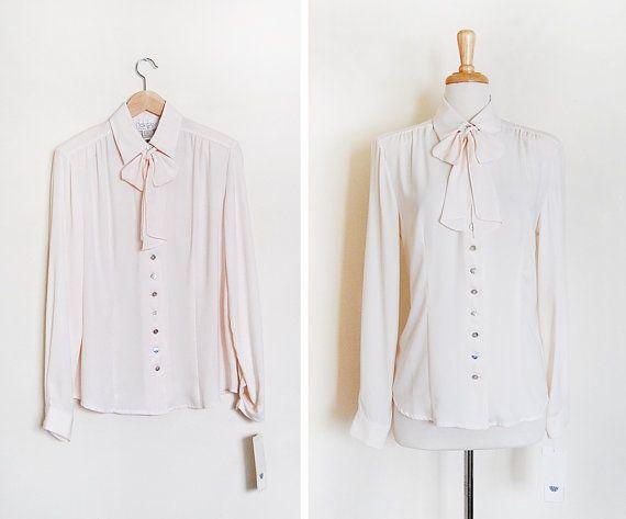 1980s bow blouse / vintage 80s blouse / secretary bow by cutxpaste, $32.00