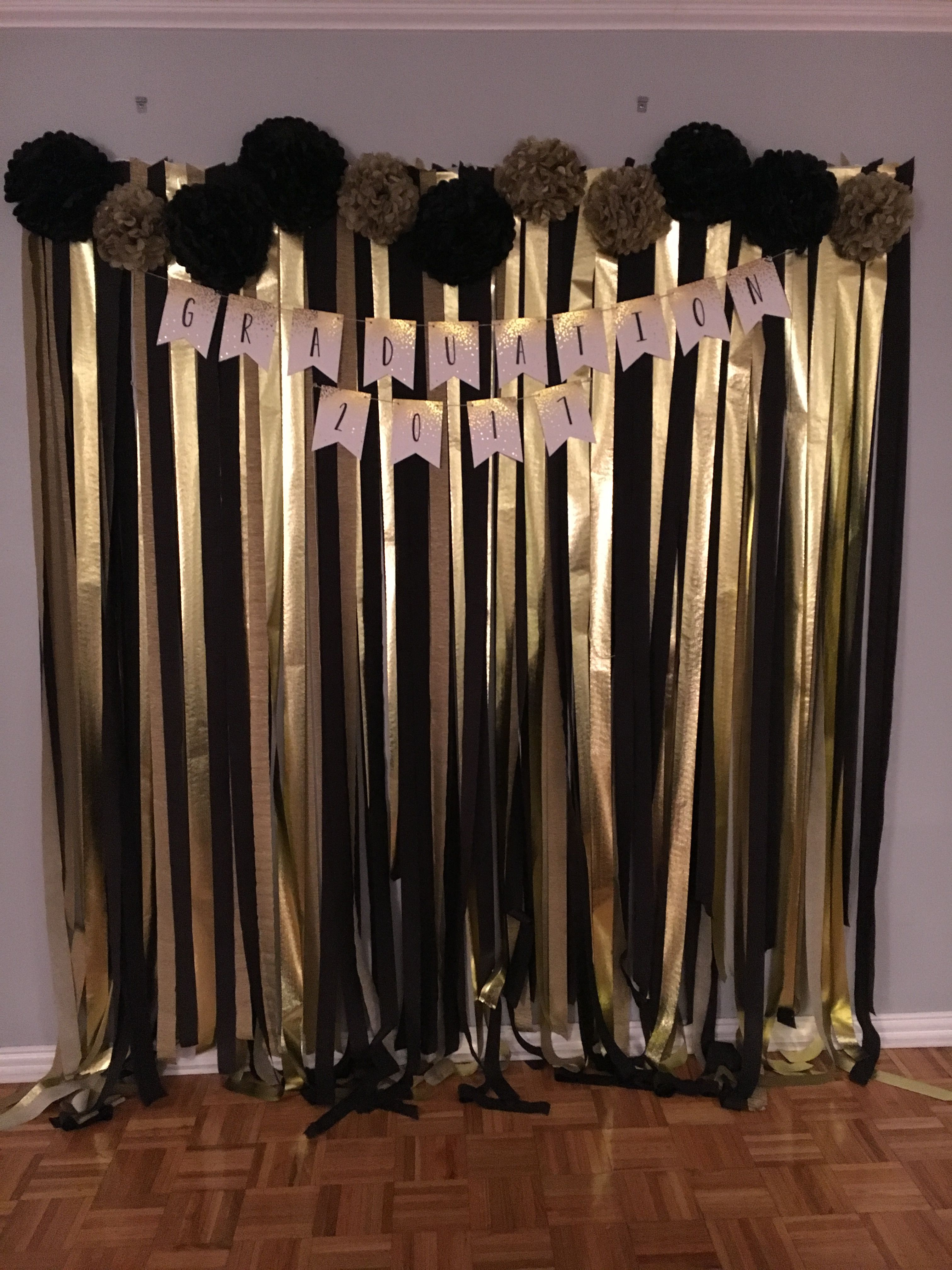 Black And Gold Graduation Photo Wall Gold Graduation Party Gold