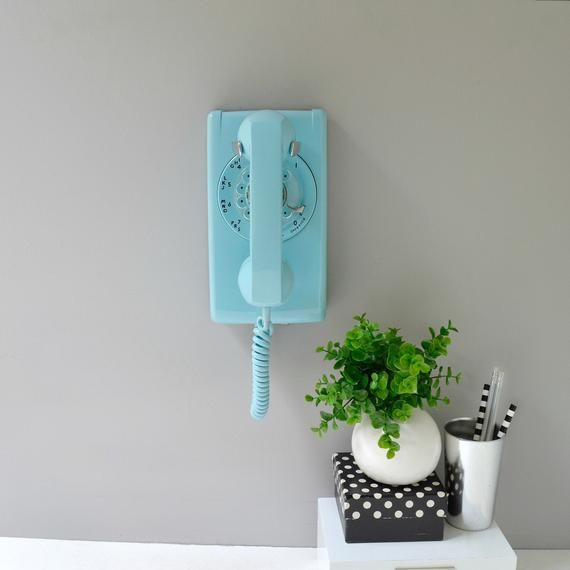 Rotary wall phone; working rotary telephone; blue rotary phone; wall telephone; blue phone; retro phone; vintage phone #wallphone