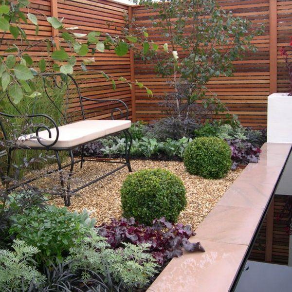 sichtschutz aus holz im garten design gartenmöbel bank | garten, Garten Ideen