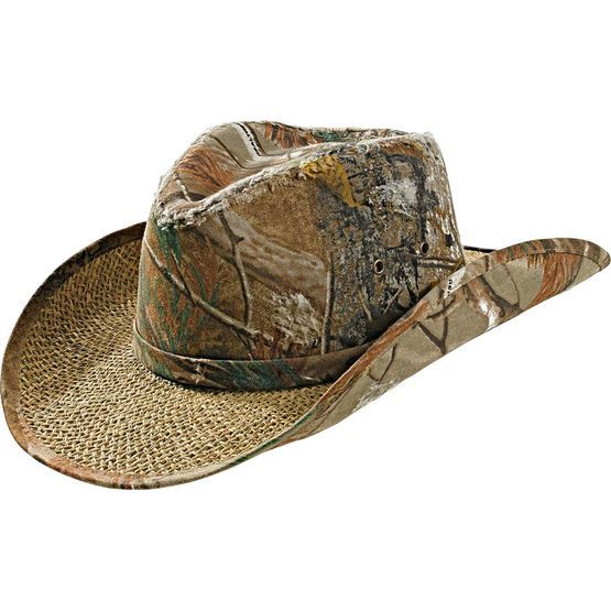 Men s Realtree Camo Timber Rattler Cowboy Hat - Kick back and relax!  Features heavy-duty canvas in Realtree® AP Camo with well-worn distress and  straw brim ... 41df1d5a4214