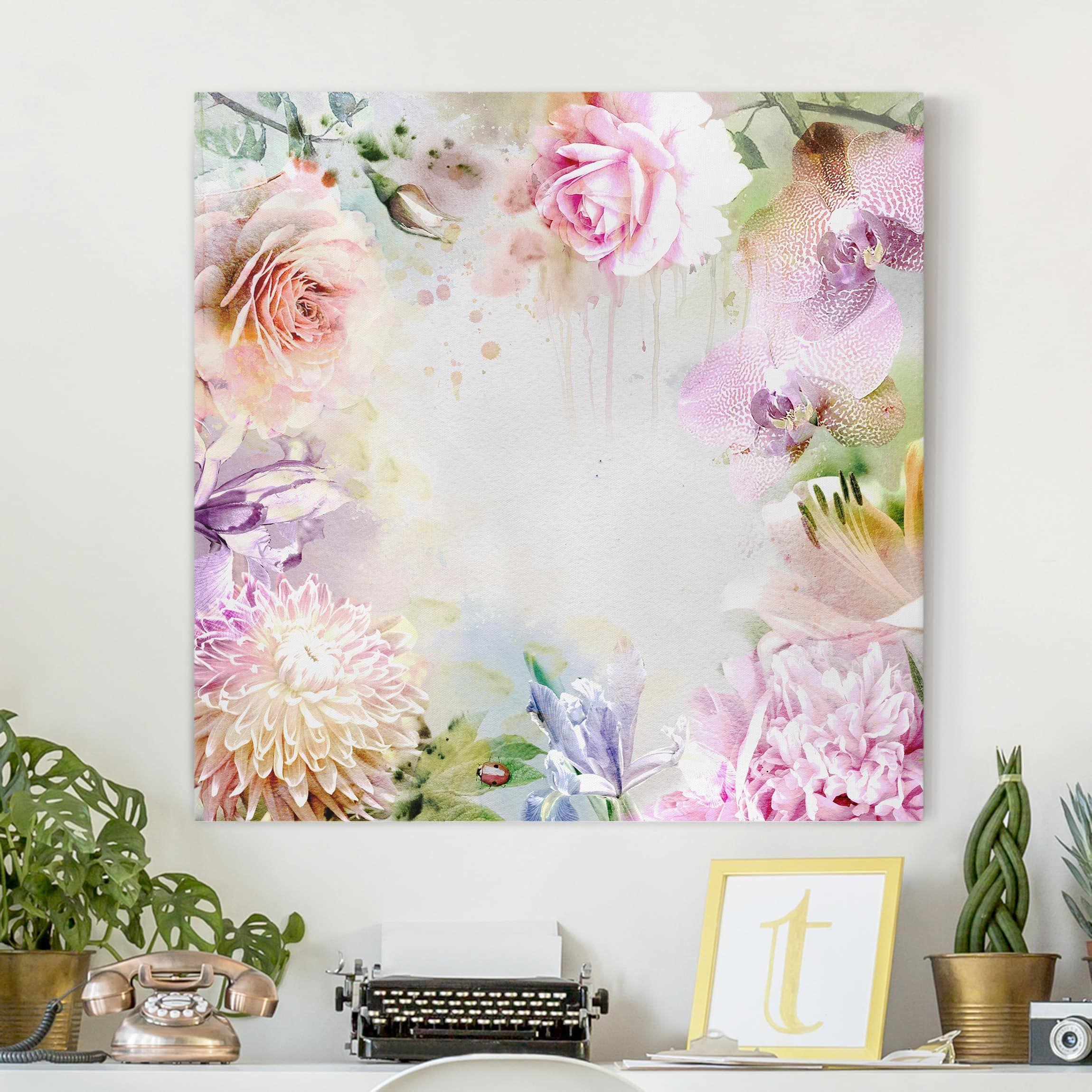 Quadri Classici Per Arredamento stampa su tela - watercolor blossoms mix pastel - quadrato 1