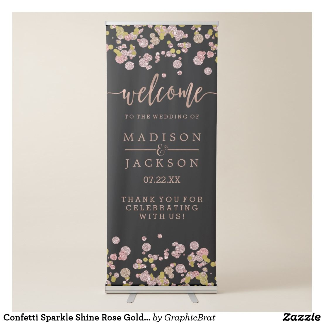 Confetti Sparkle Shine Rose Gold Wedding Welcome Retractable Banner ...