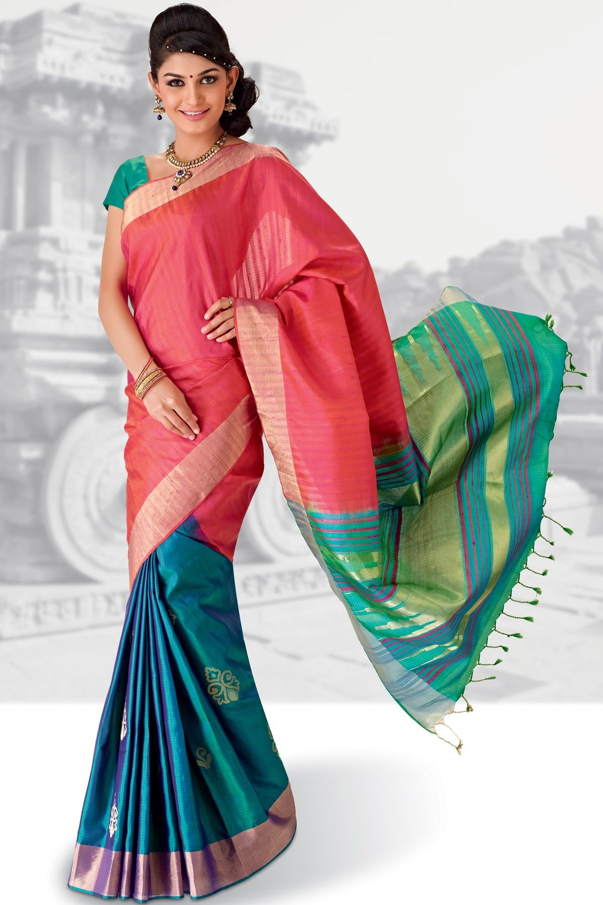 dc919ee9e11 Ravishing  Peacock Blue wevaed pure  silk saree in golden  saree border    multi colour weaved pallu along with Peacock  Green plain blouse to give  you a ...