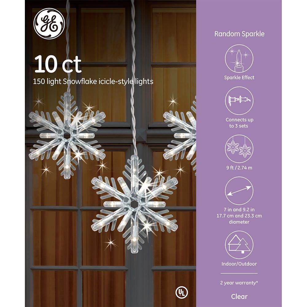 GE 150Light Clear Random Sparkle Snowflake Icicle Light