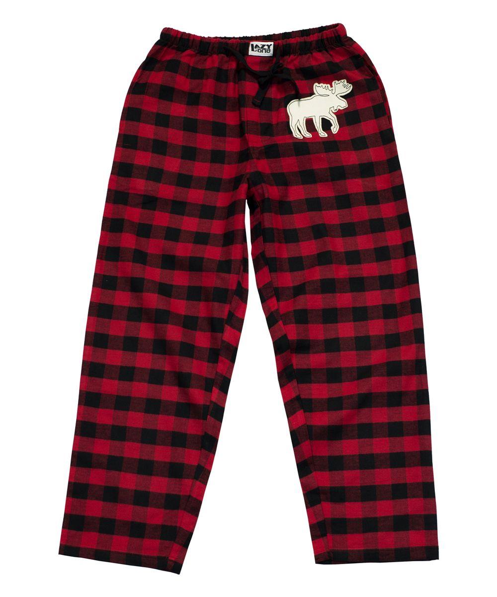 6acaa28314a Red   Black Buffalo Check Moose Pajama Pants - Men s Regular s ...