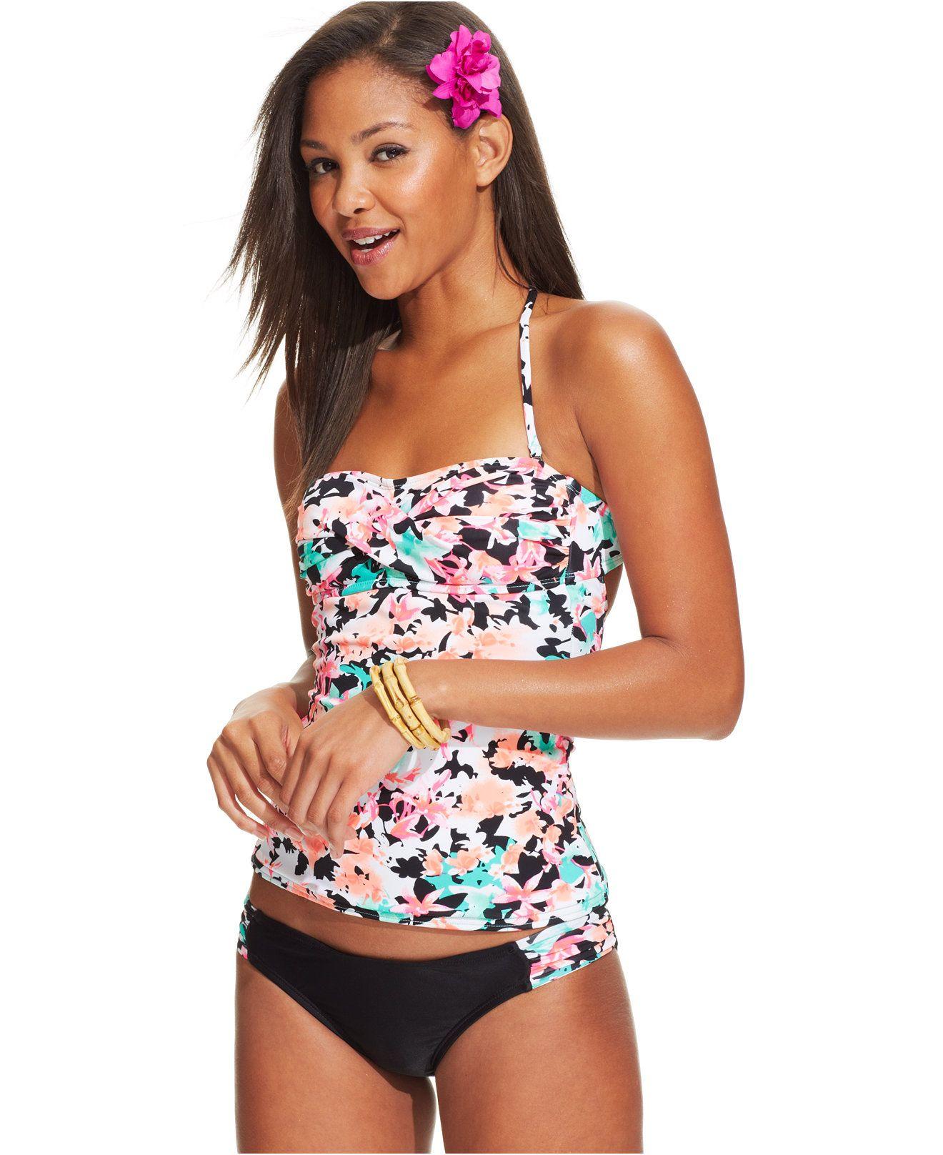 7816ecb69f403 Hobie Floral-Print Twist-Front Tankini & Printed-Tab Hipster Bottom - Juniors  Swimwear - Macy's
