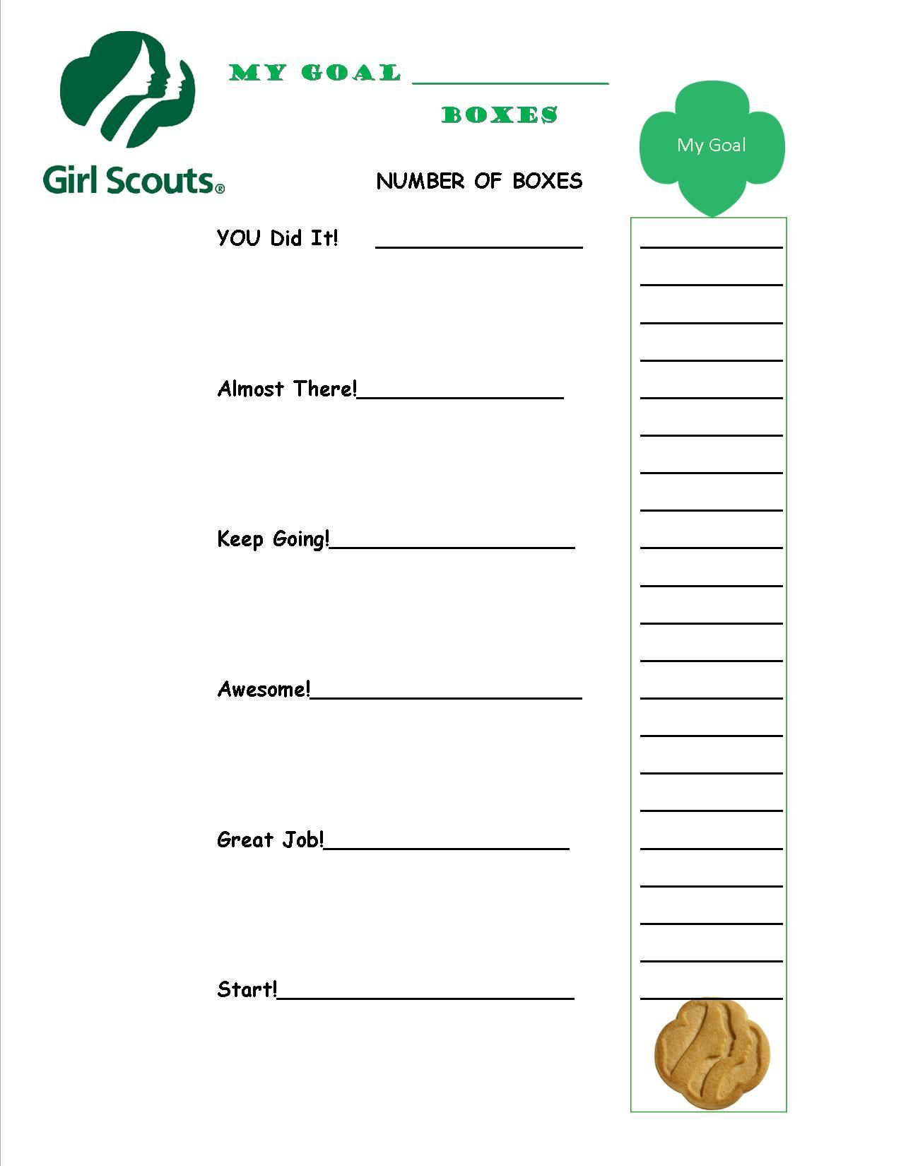 Girl scout cookie goal sheet girl scouts pinterest for Girl scout order form template