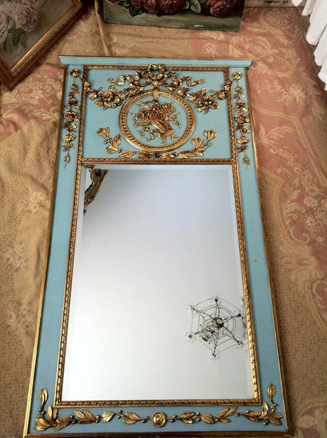 Shabby Chic French Trumeau Mirror With Barbola Roses In A