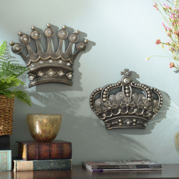 His Her Crown Silver Jeweled Wall Plaque Set Of 2 Crown Wall