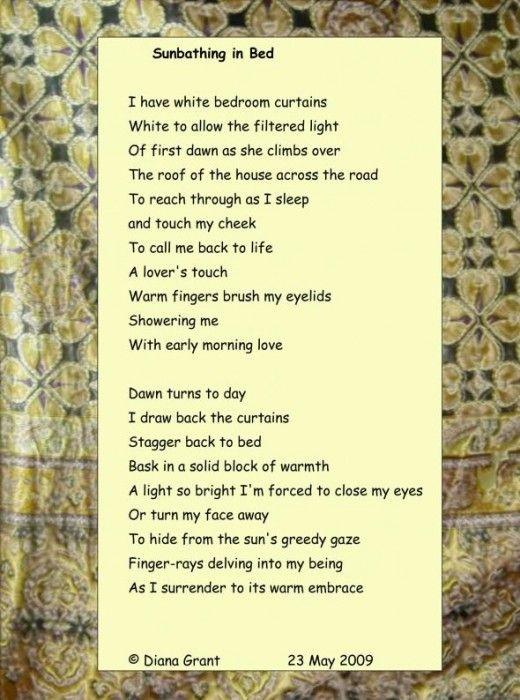 Sunbathing in Bed | Poetry, Use of Language, figures of speech ...