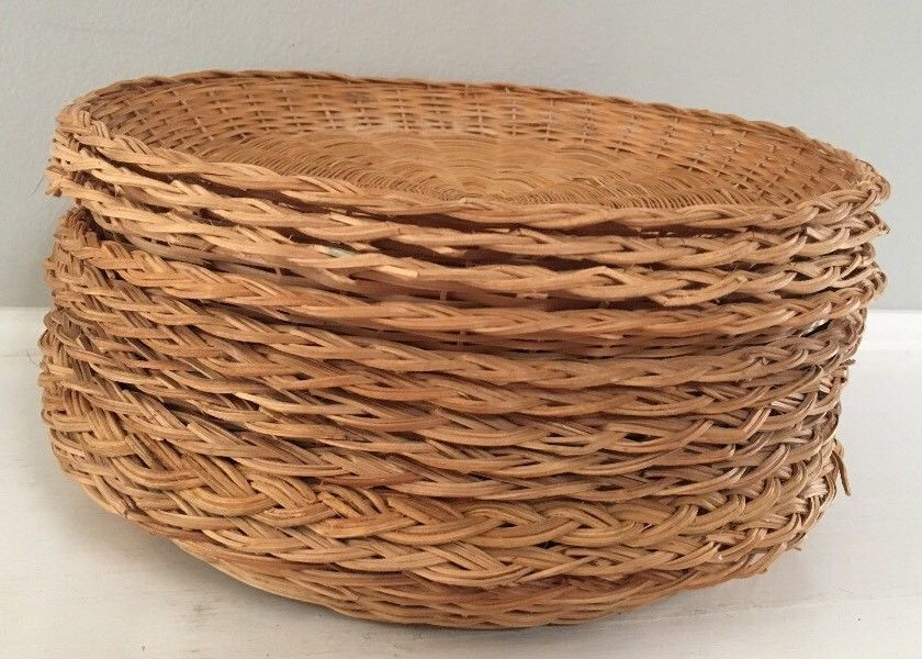 & Wicker Rattan Paper Plate Holders lot of 12 Picnic BBQ Camping