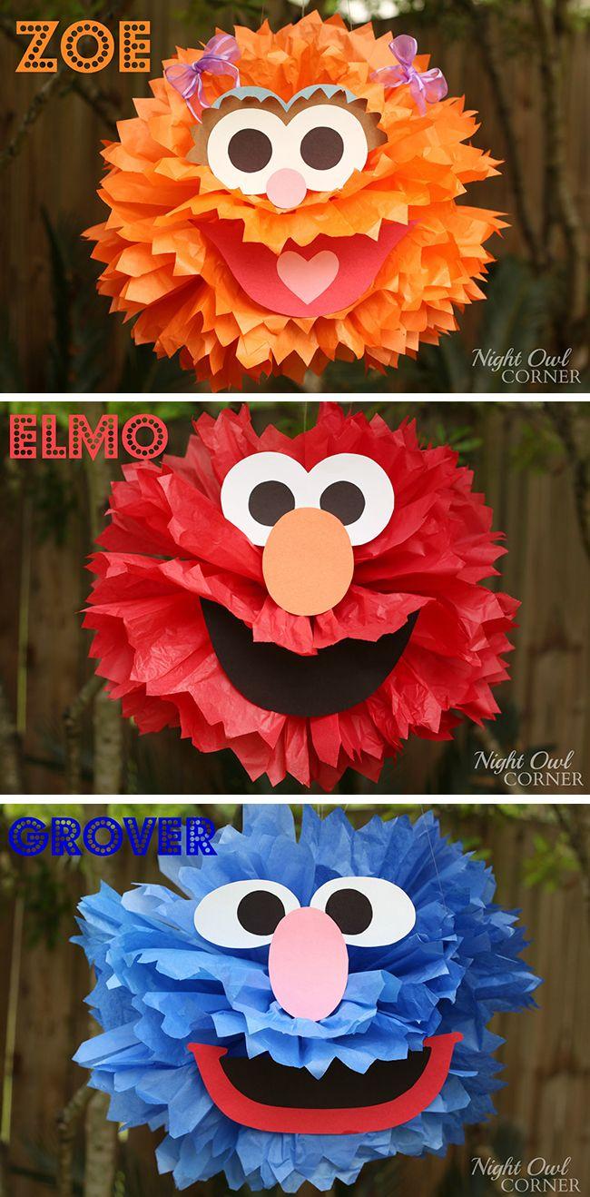 Homemade Sesame Street Character Poms