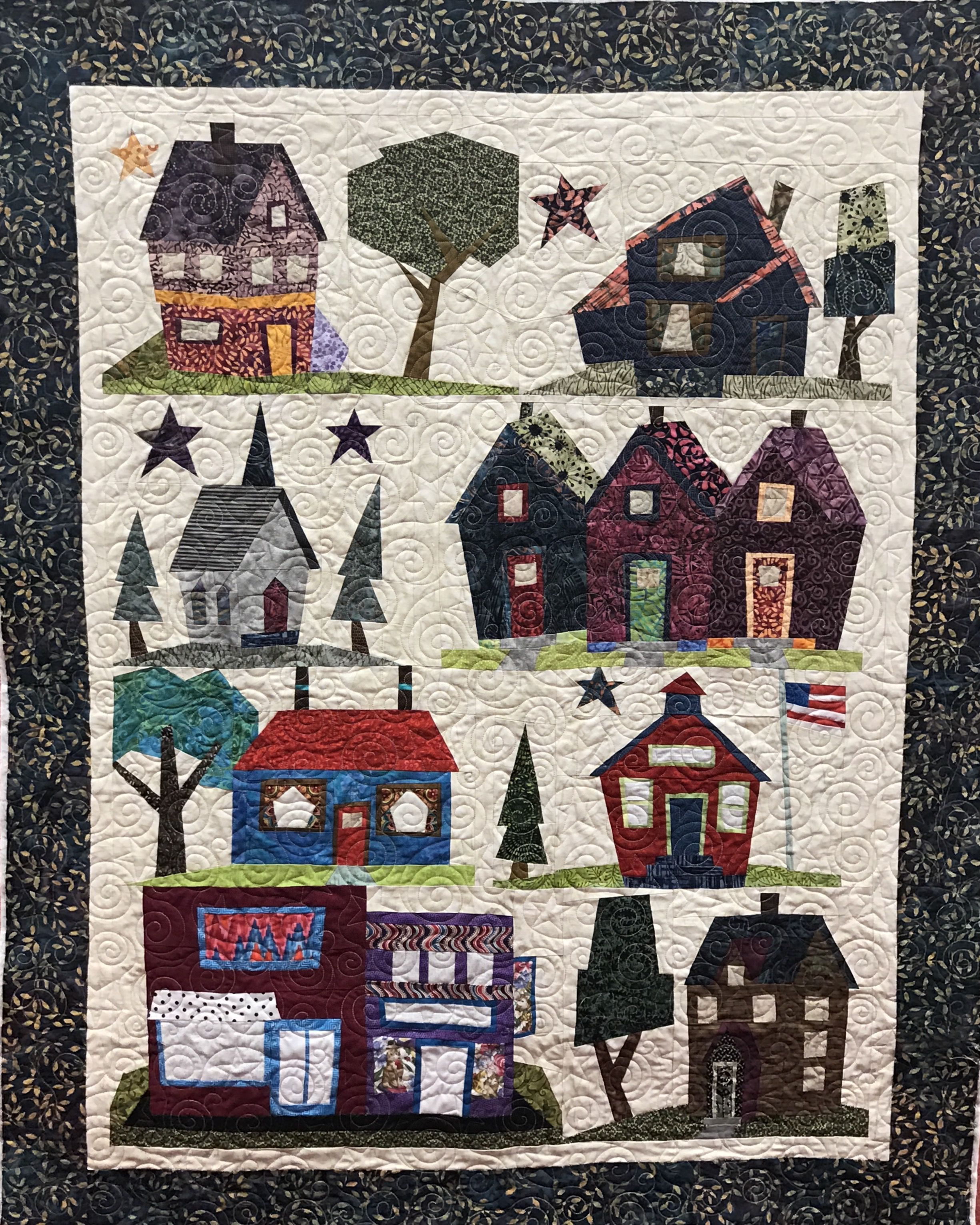 I Loved Making This Quilt It Was Fun To Be A Little Wonky And Play With Colors Paper Piecing Is One Of My Favorite House Quilt Patterns Quilt Patterns Quilts