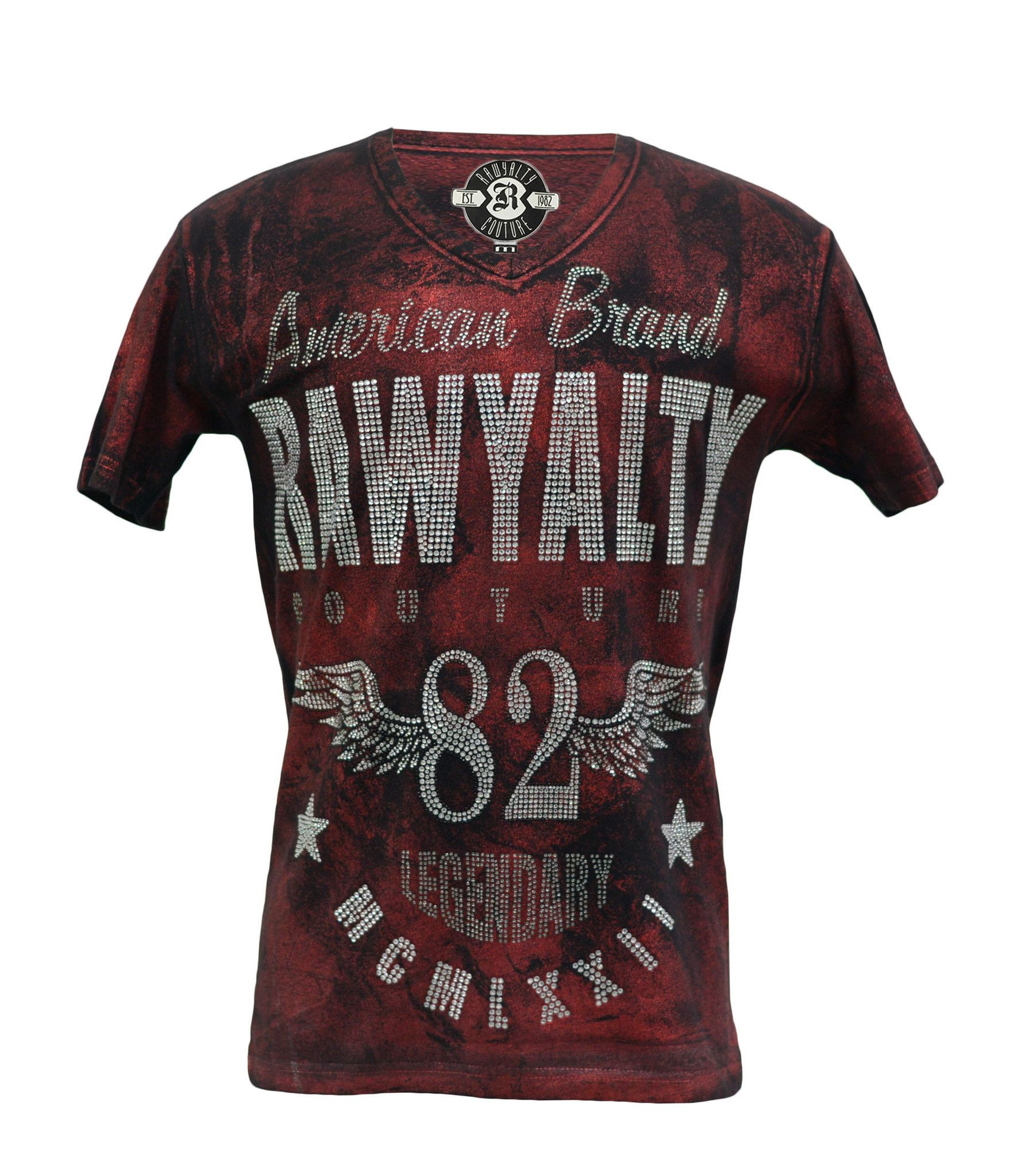 Rawyalty Couture Mens Full Bling 82 Wings T-Shirt Foil Red ...