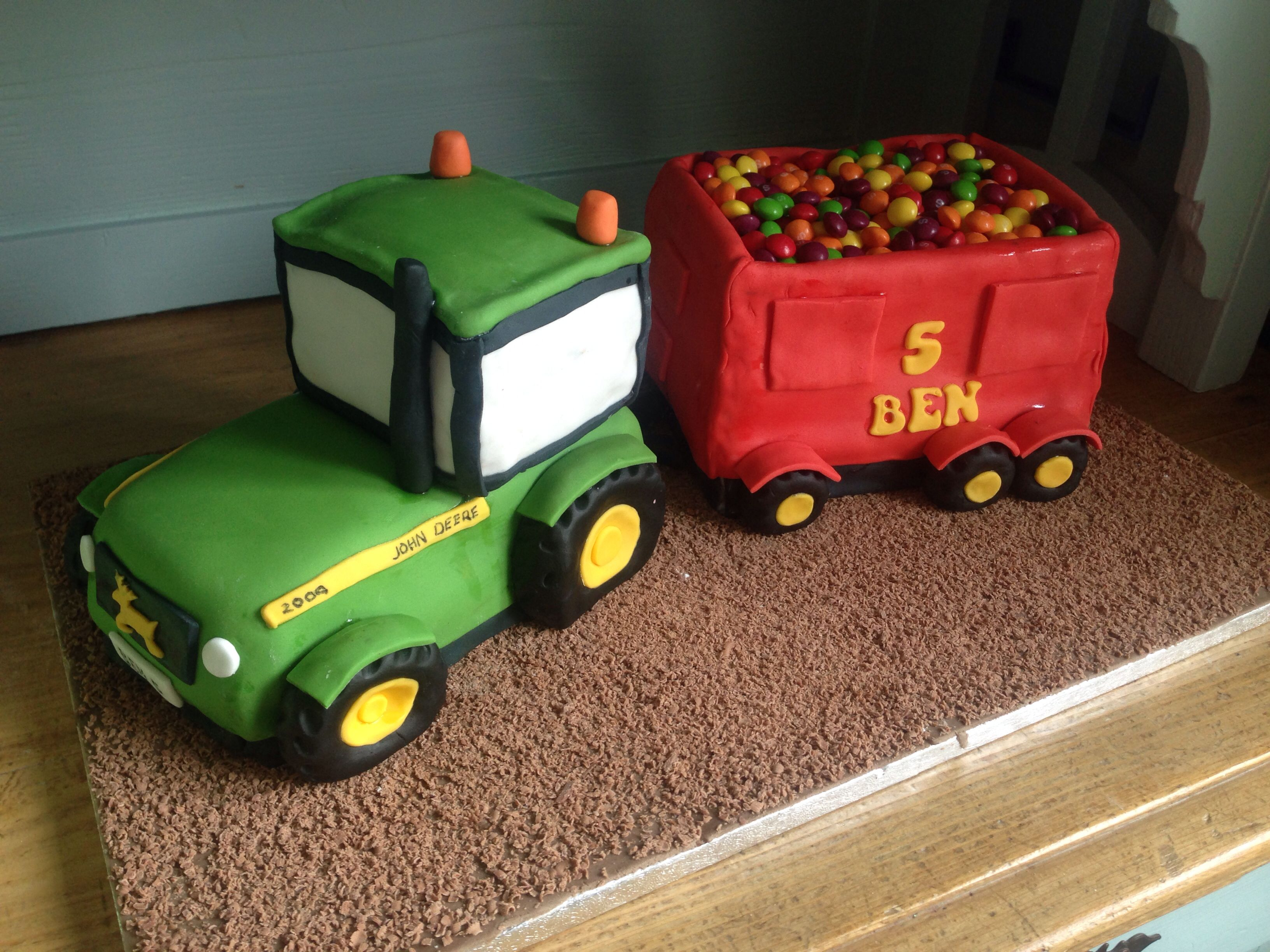 John Deere tractor and trailer cake. Red velvet and chocolate! Yummy 5 year old