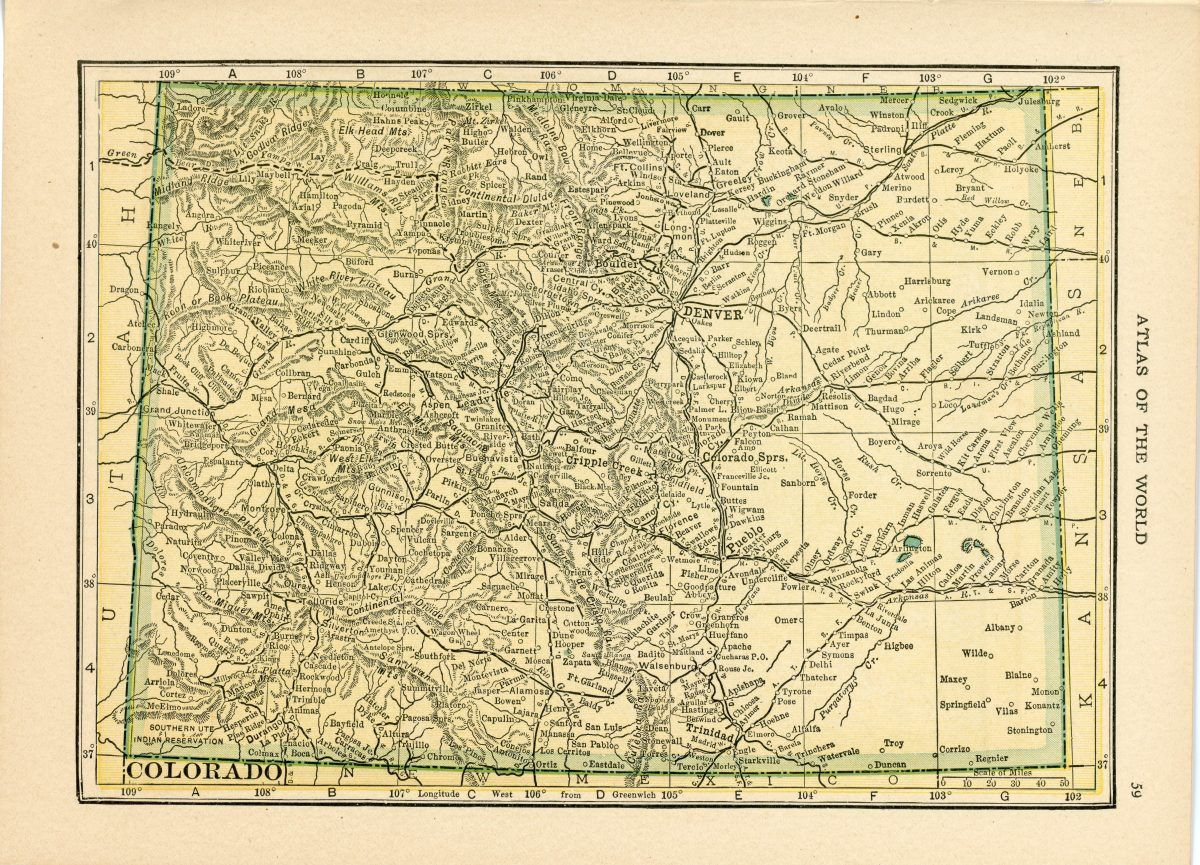 Handy Atlas Vintage Map Pages Colorado On One Side And New Mexico On The Other Side Colorado Map Vintage Maps Vintage Map