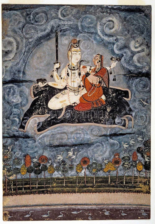 Siva And Parvati Floating Skin Of Slain Elephant