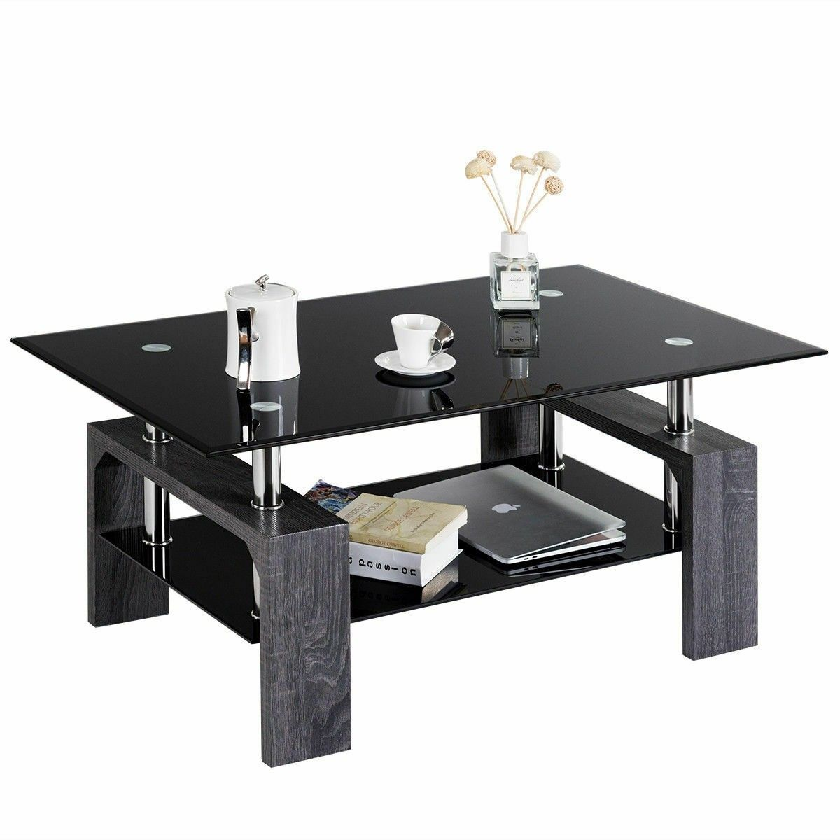 Rectangular Tempered Glass Coffee Table With Shelf Coffee Table